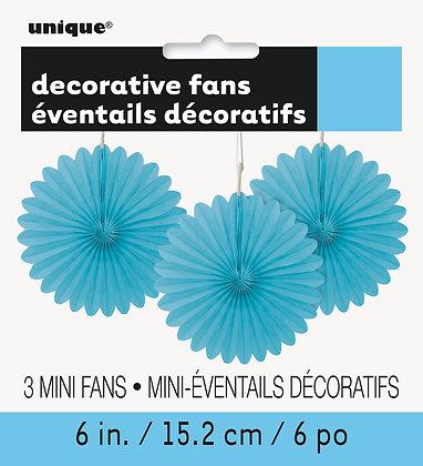 """Baby Blue 6"""" Mini Paper Fans"""