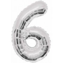 Silver Giant Number 6 Foil Balloon
