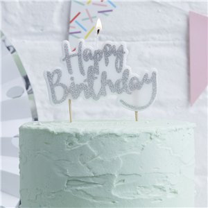 Silver Birthday Candle