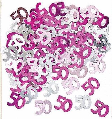 Pink Glitz Age 50 Confetti