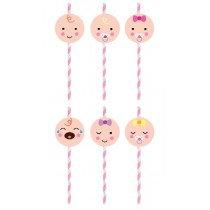 Pink Baby Shower Straws