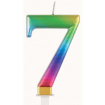 Metallic Rainbow Number 7 Candle