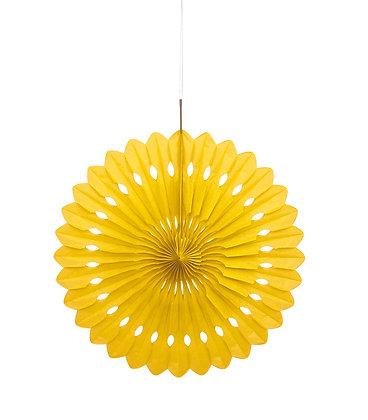 """Yellow 16"""" Paper Fan"""