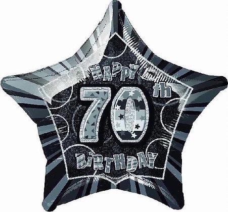 Black Glitz Age 70 Foil Balloon