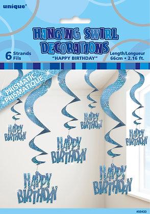 Blue Glitz Happy Birthday Swirl Decoration