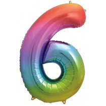 Rainbow Stripe Number 6 Foil Balloon