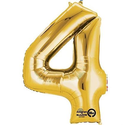 Gold Giant Number 4 Foil Balloon