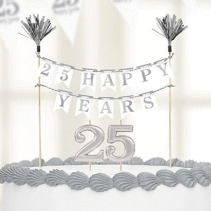 Silver Anniversary Cake Topper