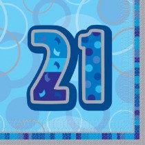 Blue Glitz Age 21 Napkin