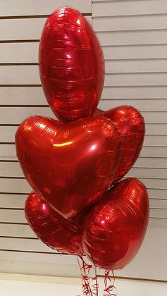 Five Heart Balloon Bouquet