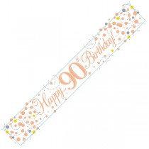 Rose Gold Age 90 Banner