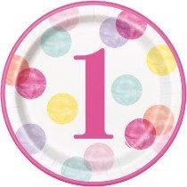 Pink 1st Birthday Plates