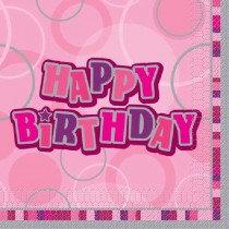 Pink Glitz Happy Birthday Napkin