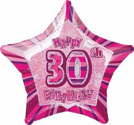 Pink Glitz Age 30 Foil Balloon