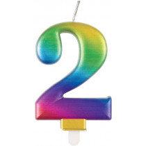 Metallic Rainbow Number 2 Candle
