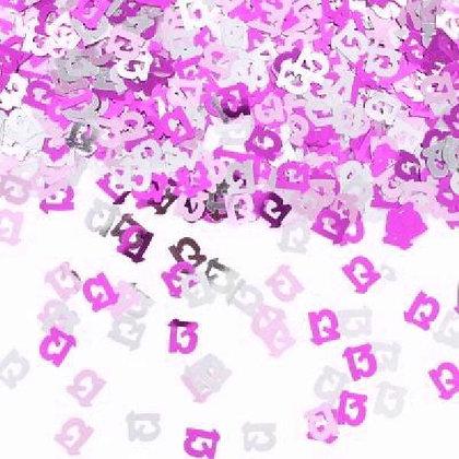 Pink Glitz Age 13 Confetti