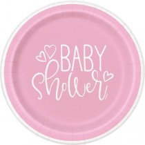 Pink Baby Shower Plates