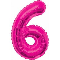 Pink Giant Number 6 Foil Balloon