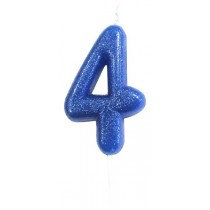 Blue Glitter Number 4 Candle