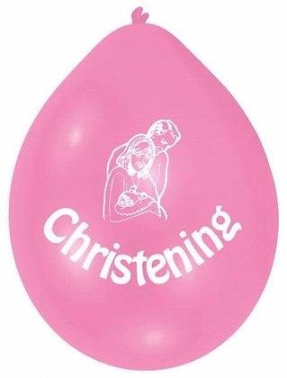 Air Fill Pink Christening Latex Balloons