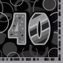 Black Glitz Age 40 Napkin