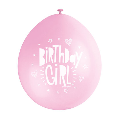 "Birthday Girl 9"" Latex Pink and White Balloons"