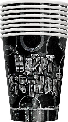 Black Glitz Happy Birthday 9oz Cups