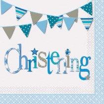 Blue Bunting Christening Paper Napkins