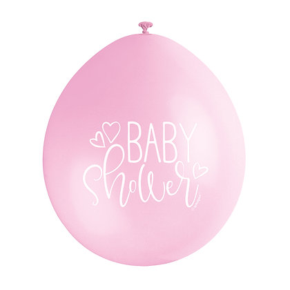 """Baby Shower 9"""" Latex Pink and White Balloons"""