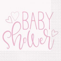 Pink And White Baby Shower Napkins