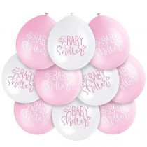 Pink/White Baby Shower Air Fill Balloons