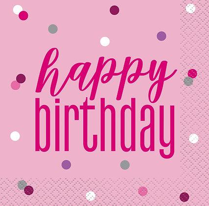 New Glitz Pink Birthday Napkins