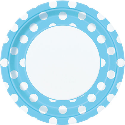 """Baby Blue Dotty 9"""" Paper Plates"""
