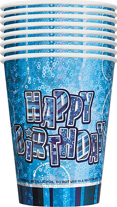 Blue Glitz Happy Birthday 9oz Cups