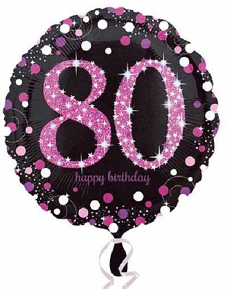 Pink Sparkle Age 80 Foil Balloon
