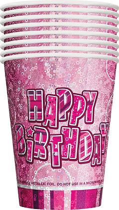 Pink Glitz Happy Birthday 9oz Cups
