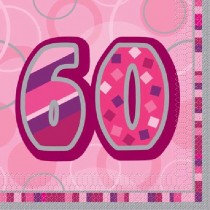 Pink Glitz Age 60 Napkin