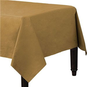 Gold Plastic-Lined Paper Tablecover