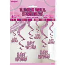 Pink Glitz Happy Birthday Swirl Decoration