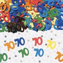 Multi-Colour Age 70 Confetti