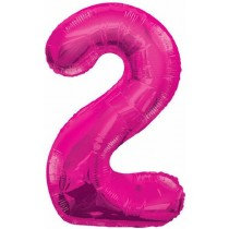 Pink Giant Number 2 Foil Balloon