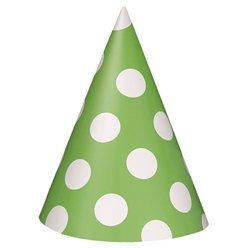 Lime Polka Dot Party Hats