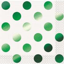White and Metallic Green Dot Napkins