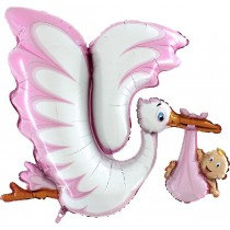 Super Shaped Pink Stork Foil Balloon