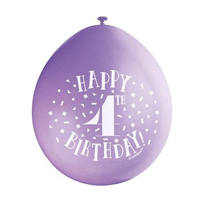 "Age 4 9"" Latex Multi Coloured Balloons"
