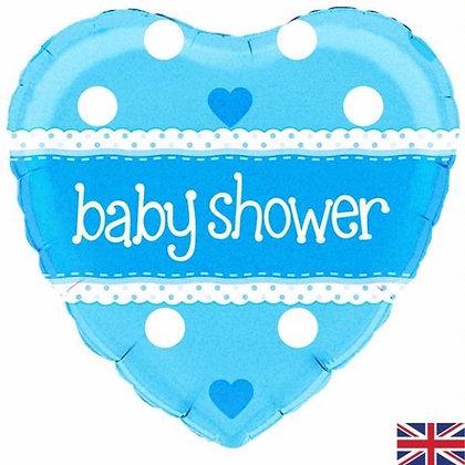 Blue Heart Baby Shower Foil Balloon