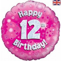 Pink Age 12 Foil Balloon
