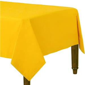 Yellow Plastic-Lined Paper Tablecover
