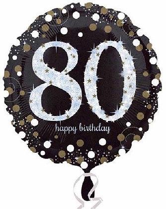 Gold Sparkle Age 80 Foil Balloon