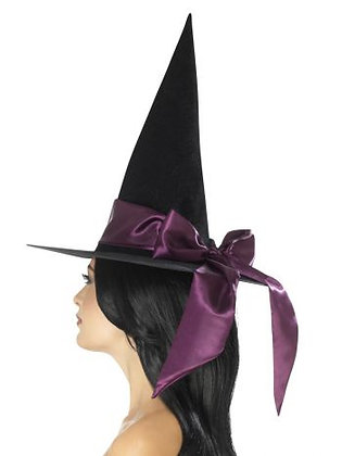 Black Witch Hat with Purple Bow
